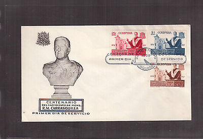 Colombia 1959 First Day Cover, # 696 C315/16  Msgr. R.m. Carrasquilla !!