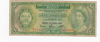 1 Dollar Vg Banknote From British Colony Of Belize 1975!pick-33!