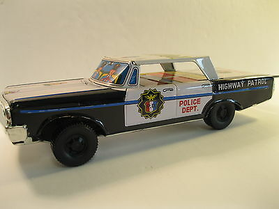 PLYMOUTH 1964 HIGHWAY POLICE PATROL CAR TIN LITHO MODEL FRICTION MINT JAPAN 70's