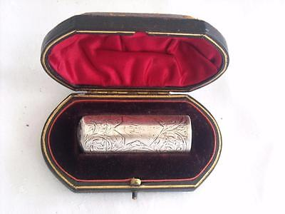 Antique Solid Silver Bright Cut Perfume Scent Bottle In Original Case