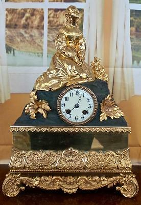 Antique large 19th c French gilt ormolu 2 tone bronze figural 8 day mantle clock