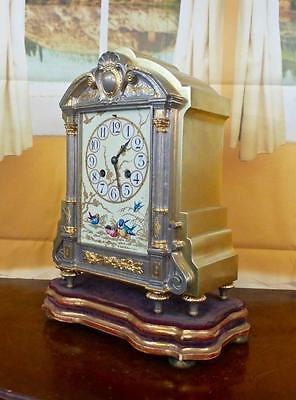 Antique 19th c French silvered & gilt brass & porcelain mantel clock on base