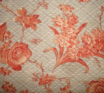 BEAUTIFUL  FRAGMENT 19th CENTURY FRENCH PROVENCAL CHINTZ c1850 ROSES REF