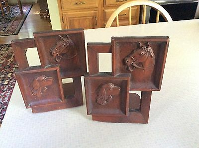 Vintage Irish English Setter Dog And Horse Bookends Syroco U.s.a. Equestrian Art