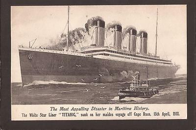 "Disaster. The White Star Liner ""Titanic"" sunk 15th April 1912. Specifications."