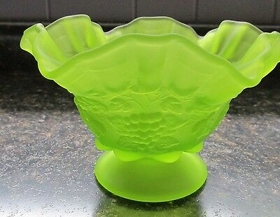 Westmoreland Glass Green Mist Grape Pattern Crimped Top Edge Footed Bowl