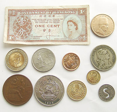 Job Lot of 10 World Coins / Tokens & 1 Banknote * Freepost * (30)