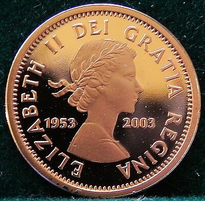 Canadian Proof 1953-2003 Special Edition Coronation Copper 1 Cent Coin
