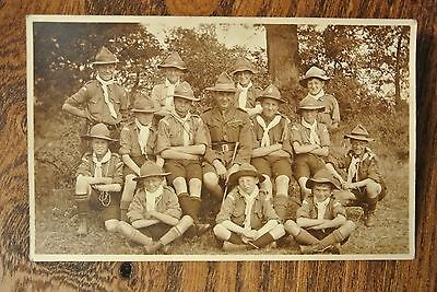 Postcard BOY SCOUTS 11th NORTH LONDON TROOP CAMP 1920  SMALLER GROUP(RS115)