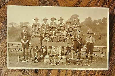 Postcard BOY SCOUTS 11th NORTH LONDON TROOP CAMP 1920  SMALL GROUP(RS114)