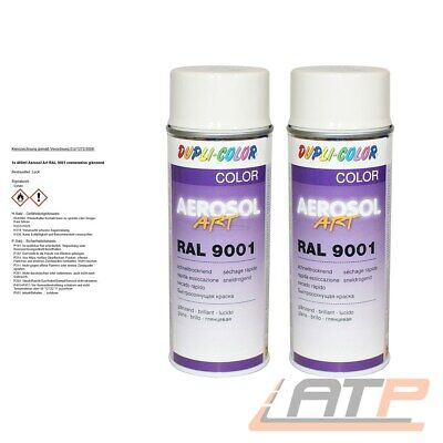 2x 400ml DUPLI COLOR AEROSOL ART RAL 9001 CREMEWEISS LACK SPRAY 722677 32156594
