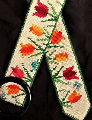 UNUSED Vintage Floral Tulip Finished Retro Womens Completed Needlepoint BELT s m