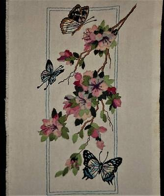 Elegant Butterfly Floral Vtg Finished Kit Completed Wall Art Crewel Embroidery
