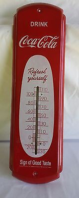 Drink Coca Cola Metal Red Advertising Thermometer Coke
