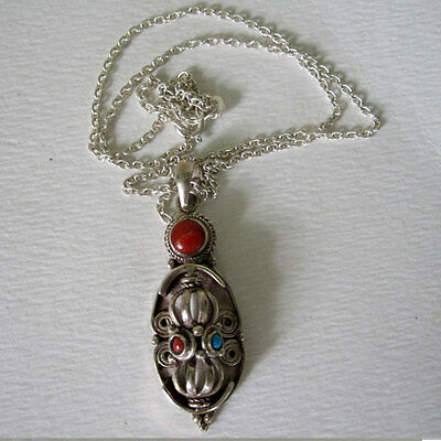 Rotating Sterling Silver Dorje Pendant On Chain Coral Turquoise Tibet Nepal