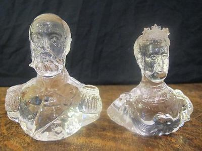 2x ANTIQUE PRESSED GLASS BUSTS KING GEORGE V & QUEEN ALEXANDRA