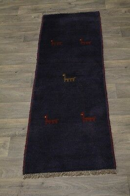 Animal Design Tribal Vintage Navy Gabbeh Wool Persian Oriental Area Rug 2x6