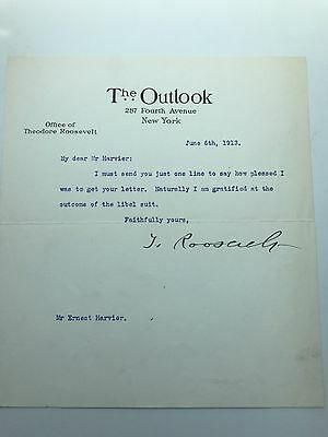 President Theodore Roosevelt 1913 Typed Letter Signed - At End Of Libel Lawsuit