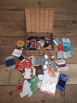 Vintage Sewing Work Basket With Contents .