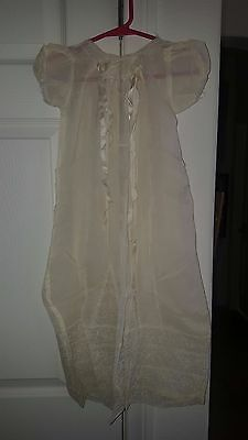 Antique Christening Gown With Lace Gores  Plus Petticoat Mother Of Pearl Button