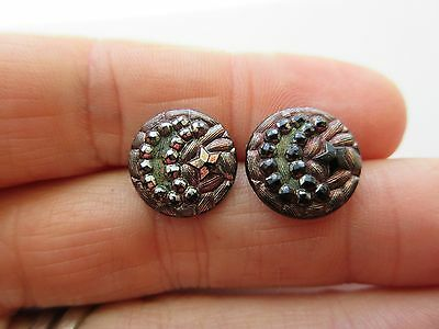 Pretty Lot of 2 Antique~ Vtg Victorian Black GLASS BUTTONS Faceted MOON & STAR