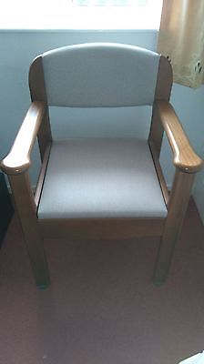 Wooden And Upholstered Commode Chair.  Good Condition. Doubles As Bedroom Chair.