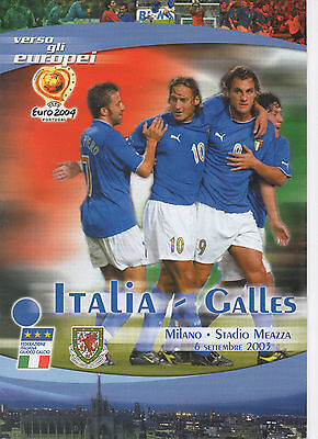 2003 Euro 2004 Qualifier Italy v Wales Football Programme