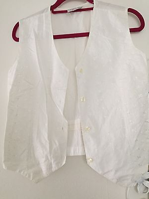 Vintage White Broderie Anglais Waistcoat - Size M