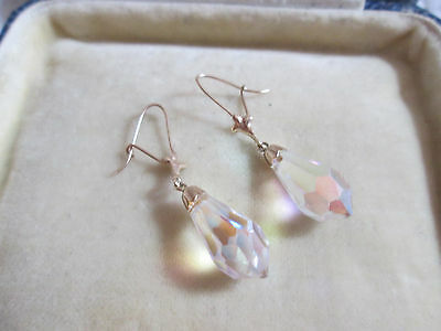 Vintage 9Ct Gold Ab Crystal Drop Earrings, Antique Art Deco Style