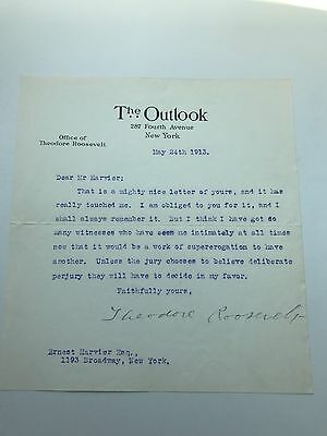Theodore Roosevelt 1913 Typed Letter Signed - TR Prepares For His Libel Suit