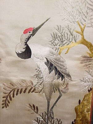 Wonderful Antique Chinese Silk Embroided Panel Cranebird ****hg***