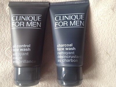 CLINIQUE FOR MEN  ~~ FACE  WASH x2  ~~ 50ml CHARCOAL WASH, 50ML OIL CONTROL