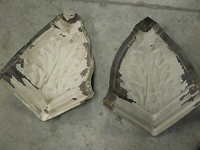 """Old Antique ( Metal ) tin ceiling tiles (2)  corners 10"""" with wood"""
