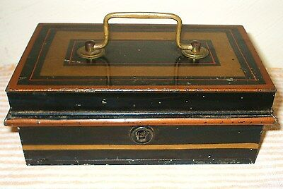 Vintage Traditional Black Tin Cash Box with Gold/Red Detail