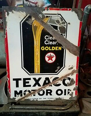Texaco Motor Oil The Texas Company Made In U.s.a Vintage Enamel Porcelain Sign