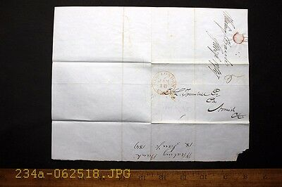 Antique c.1847 Stampless Cover with Red New London Conn. Cancel & Banking Note