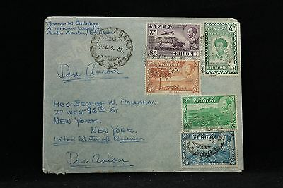 Ethiopia: 1948 Airmail Cover + Letter to the USA, Water Colored Designs Letter