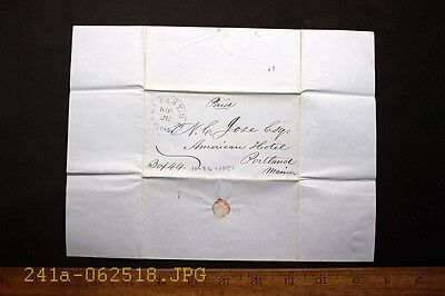 Antique 1851 Stampless Cover & Black Belfast, Me.  & PAID 3 Cancel 1 Page Letter