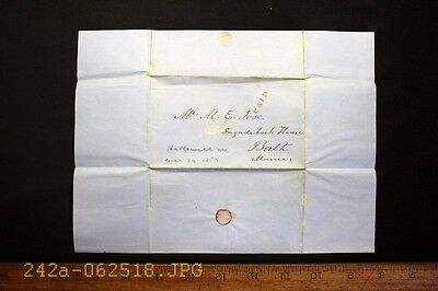 Antique 1853 Stampless Cover from Hallowell, Me.  & PAID Cancel 1 Page Letter