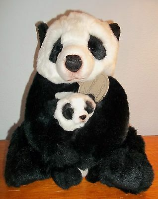 "Russ Yomiko Classics  MOMMY & BABY PANDA BEAR 10"" Plush Animal"