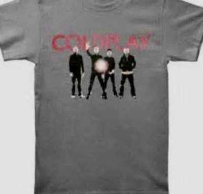 Coldplay- NEW Group Photo CHARCOAL GRAY T Shirt- XLARGE  SALE FREE SHIP TO U.S.!