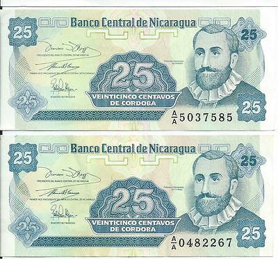 Nicaragua currency set of 2 Pick # 170 25 centavos Cordoba flowers #267-585