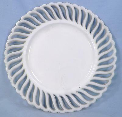 Antique Milk Glass Plate Swirl Filagree Border White Nice Condition