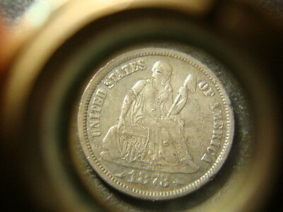1873-S Very Weak S  Seated Liberty Dime Nice Devices  CF