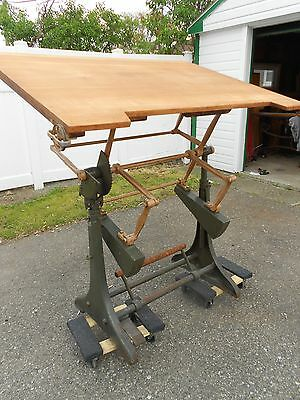 ROLLS ROYCE Owned - Hall Harding Cast Iron Industrial Drafting Table England UK
