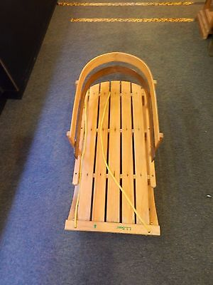 Ll Bean Toboggan Sled Wooden Pull Behind Sleigh With Back Rest Seat