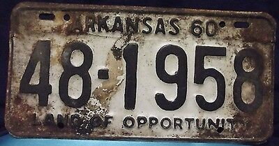 Vintage Arkansas 1960 License Plate 48-1958 Full Size Metal Rusty Fair Condition