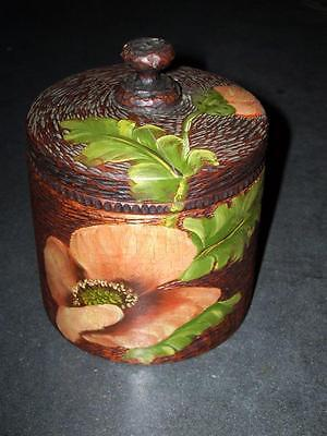 Antique Unusual  Carved Pyography ? Painted Cylinder Box With Lid