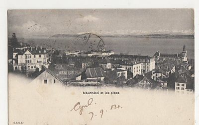 Switzerland, Neuchatel et les Alpes 1904 Postcard, B411