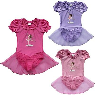 Ballet Girls Gymnastics Dress Toddler Kids Leotard Tutu Skirt Dance wear Costume